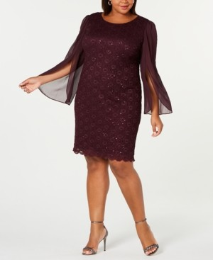 Connected Plus Size Angel-Sleeve Sequined Dress