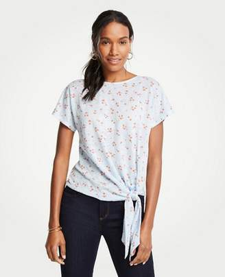 Ann Taylor Lily Leaves Linen Tie Front Tee