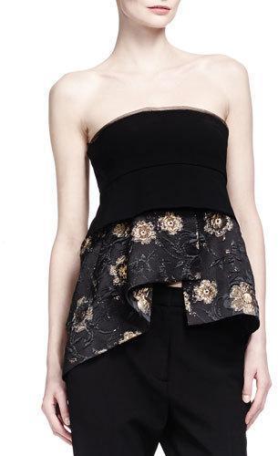 Donna Karan Strapless Floral Jacquard Peplum Bustier Top