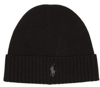 Polo Ralph Lauren Logo Embroidered Fine Knit Merino Wool Beanie - Mens - Black