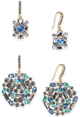 INC International Concepts I.N.C. Day & Night Gold-Tone 2-Pc. Set Crystal & Stone Drop Earrings, Created for Macy's
