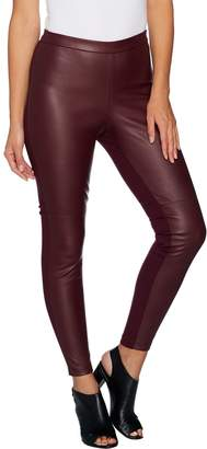 Halston H By H by Petite Faux Stretch Leather and Ponte Leggings