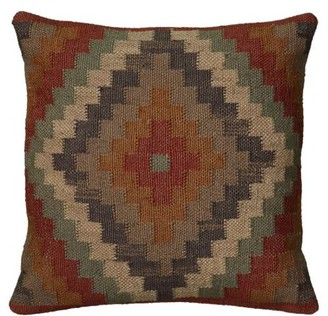 "Rizzy Home Southwest Pillow 18"" x 18"" in Rust Color"