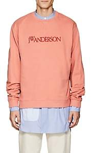 J.W.Anderson Men's Logo-Front Cotton Sweatshirt - Pink