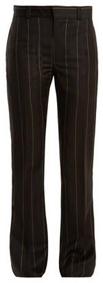 Wales Bonner Beuys Pinstriped Slim Leg Wool Trousers - Womens - Black
