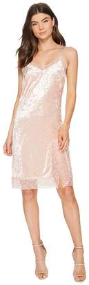 J.o.a. Lace Trim Velvet Slip Dress Women's Dress