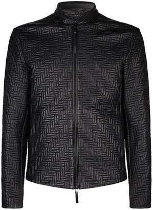 Emporio Armani Geometric Quilted Leather Jacket