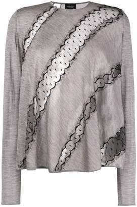 Giambattista Valli diagonal lace sweatshirt