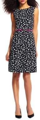Adrianna Papell Petite Free Dot Printed Cotton Faille Dress