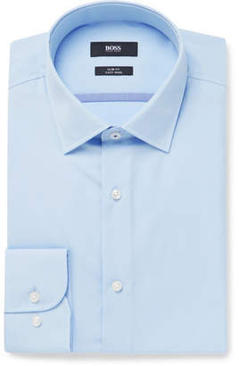 HUGO BOSS Blue Jerris Slim-Fit Cotton-Poplin Shirt