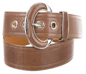 Tod's Leather Buckle Belt Brown Leather Buckle Belt