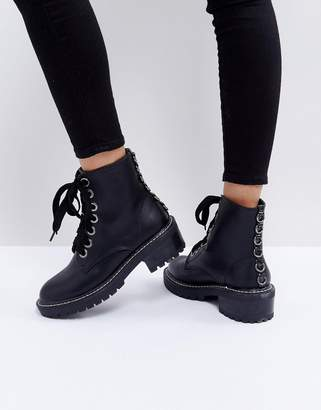 Dax Lost Ink Black Studded Flat Ankle Boots