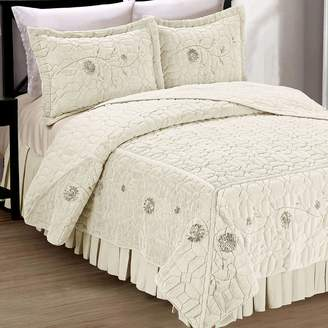 Unbranded Faux Fur Ribbon Embroidered 3 Piece Bedspread Set