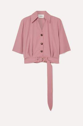 Nanushka Cayne Cropped Belted Tencel-blend Shirt - Blush
