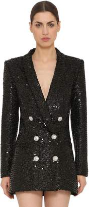 Balmain Sequins Oversized Double Breasted Blazer