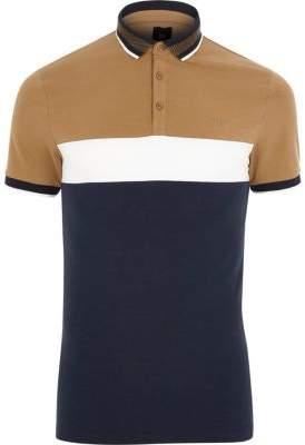River Island Light brown slim fit blocked polo shirt