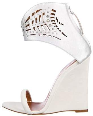 IRO Suede Ankle Strap Wedges White Suede Ankle Strap Wedges