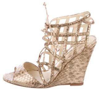 Alexandre Birman Snakeskin Wedge Sandals w/ Tags