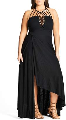 City Chic Strappy Asymmetrical Faux Wrap Halter Maxi Dress