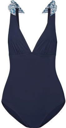 Karla Colletto Iris Bow-embellished Swimsuit - Navy