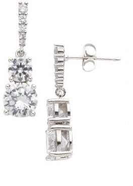 Lord & Taylor Sterling Silver and Cubic Zirconia Double-Drop Earrings