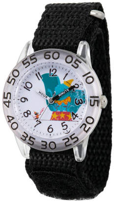 EWatchFactory Girl Disney Timothy Q. Mouse Dumbo Black Plastic Time Teacher Strap Watch 32mm