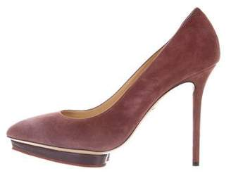 Charlotte Olympia Suede Platform Pumps