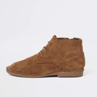 River Island Boys brown faux suede desert boots