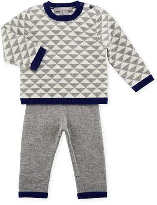 Sofia Cashmere Geo Triangles Crewneck Sweater w/ Pants, Size 6-18 Months