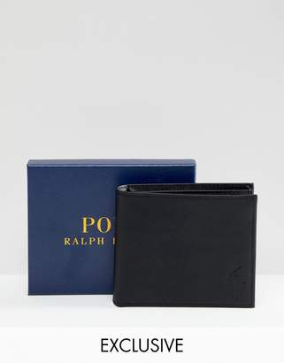 Polo Ralph Lauren Classic Leather Billfold Wallet Player Logo In Black