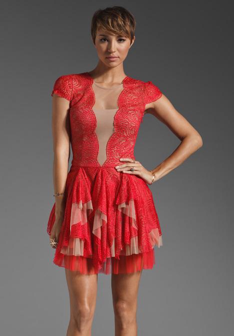 BCBGMAXAZRIA Ruffle Detail Mini Dress
