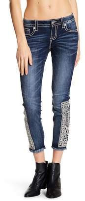Miss Me Embroidered Raw Edge Ankle Skinny Jeans