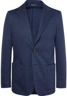 Canali Navy Unstructured Herringbone Cotton Blazer - Men - Navy