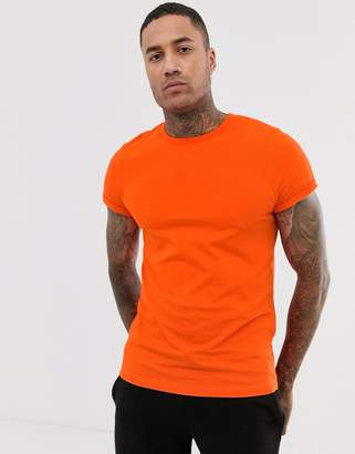 Asos Design DESIGN t-shirt with crew neck and roll sleeve in orange