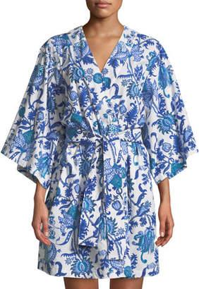Roller Rabbit Amanda Short Kimono Robe, Blue
