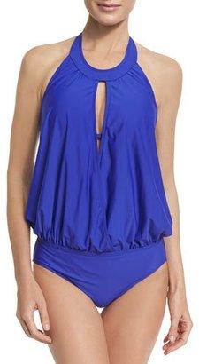 Athena Cabana Solids Alexandra Halter One-Piece Swimsuit, Indigo $98 thestylecure.com