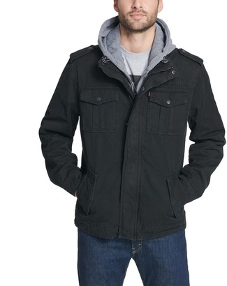 Levi's Levis Men's Military Trucker Jacket with Zip Out Jersey Interior and Hood