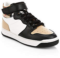 Burberry Kid's Duke Acaly Patchwork Leather-Blend High-Top Sneakers