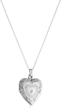 10k Gold Diamond Heart Locket Necklace