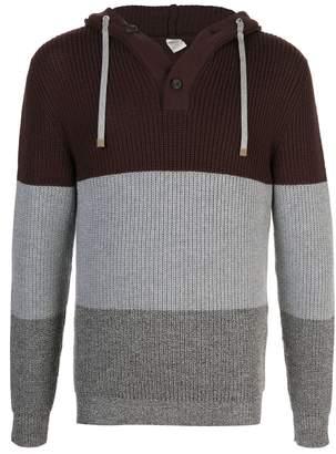 Eleventy colour block hooded jumper