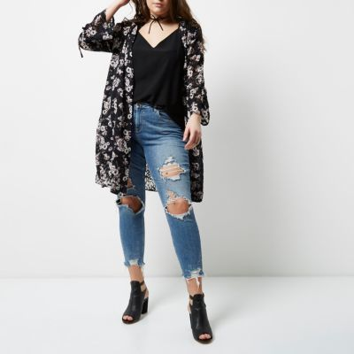 River Island River Island Womens Plus black floral print duster coat