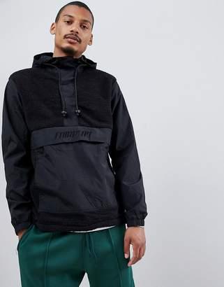 FAIRPLAY Fairplay overhead nylon and sherpa jacket with hood in black