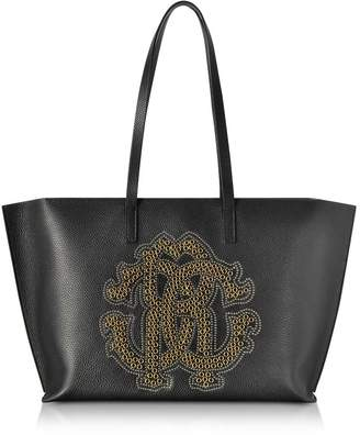Roberto Cavalli Black Leather Unisex Tote Bag W/gold Studs Rc Logo