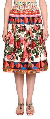 Dolce & Gabbana Flared Floral-Print Midi Skirt, Multi $895 thestylecure.com