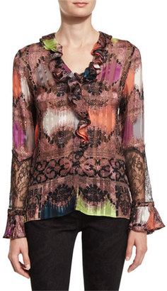 Etro Paisley Ruffled-Trim Blouse, Pink $915 thestylecure.com