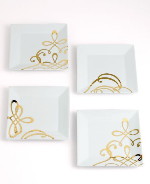 CLOSEOUT! The Cellar Gold Square Appetizer Plates, Set of 4
