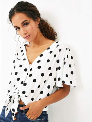 George White Tie Front Polka Dot Shirt
