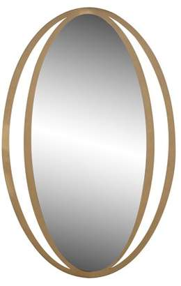 DecMode Decmode Contemporary 50 X 33 Inch Gold Metal Framed Wall Mirror