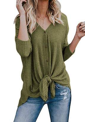 Basic Faith Women's S-3XL Ultra Soft Bat Wing Blouse Casual Button Down Thermal Tops S