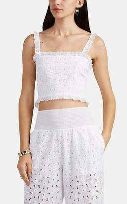 Kisuii Women's Romy Cotton Floral Eyelet Crop Top - White
